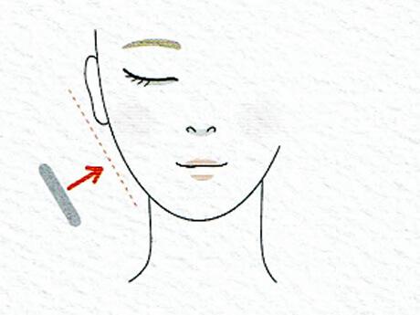 使い方2.スポンジを肌と平行になるように密着させて